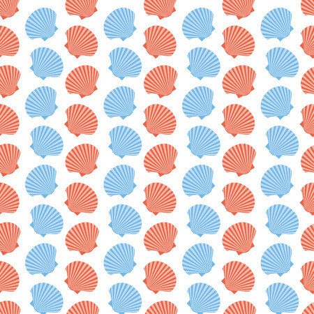 Pattern of blue and pink scallop shells on a white background  Seamless texture, Textile Vector