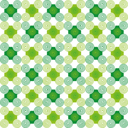 seamless texture: Gr�ne abstrakte Muster von Formen und Spiralen auf wei�em Hintergrund. Nahtlose Textur. Stoff-, Textil-, Material-, Tischdecke