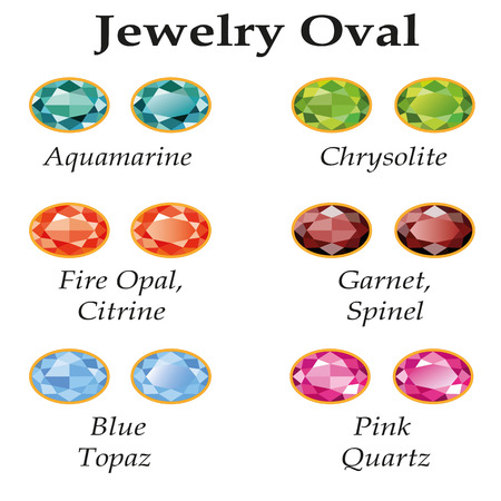 spinel: Jewelery set with faceting oval - aquamarine, blue topaz, garnet, spinel, fire opal, citrine, chrysolite and rose quartz on a white background  Isolated objects  Each type of gemstone has a signature text