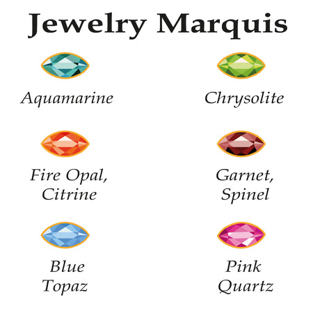 Jewelery set with faceting marquis - aquamarine, blue topaz, garnet, spinel, fire opal, citrine, chrysolite and rose quartz on a white background  Isolated objects  Each type of gemstone has a signature text Vector