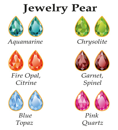 spinel: Jewelery set with faceting pear - aquamarine, blue topaz, garnet, spinel, fire opal, citrine, chrysolite and rose quartz on a white background  Isolated objects  Each type of gemstone has a signature text