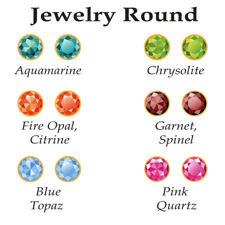spinel: Jewelery set with faceting round - aquamarine, blue topaz, garnet, spinel, fire opal, citrine, chrysolite and rose quartz on a white background  Isolated objects  Each type of gemstone has a signature text