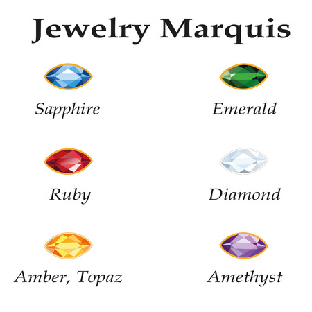 Jewelery set with faceting marquis - diamond, emerald, sapphire, ruby, amethyst, topaz and amber on white background. In the illustration used free font Book Antiqua (taken here www.fontov.net).  Vector