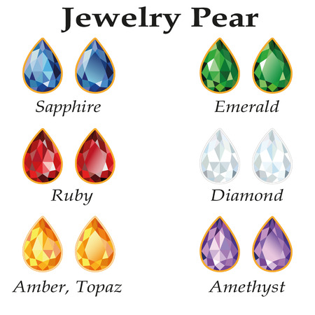 topaz: Jewelery set with faceting pear - diamond, emerald, sapphire, ruby, amethyst, topaz and amber on white background. In the illustration used free font Book Antiqua (taken here www.fontov.net)