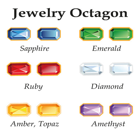 topaz: Jewelery set with faceting octagon - diamond, emerald, sapphire, ruby, amethyst, topaz and amber on white background. In the illustration used free font Book Antiqua (taken here www.fontov.net) Illustration