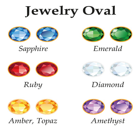 topaz: Jewelery set with faceting oval - diamond, emerald, sapphire, ruby, amethyst, topaz and amber on white background. In the illustration used free font Book Antiqua (taken here www.fontov.net).