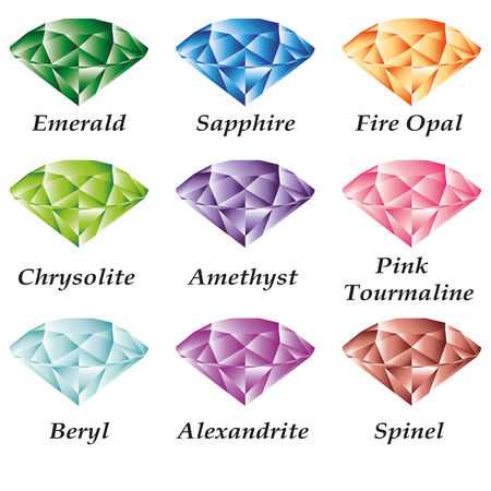 beryl: Set of jewels - emerald, sapphire, fire opal, chrysolite, amethyst, pink tourmaline, alexandrite, beryl, spinel on a white background. Isolated objects. In the illustration used free font Book Antiqua (taken here www.fontov.net) Illustration