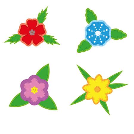 izole nesneleri: Sticker beyaz zemin üzerine dört çiçek ayarlayın. İzole nesneleri Çizim