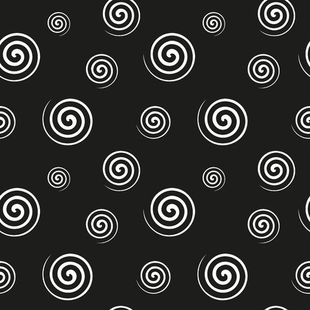 lightweight ornaments: Abstract monochrome pattern of white spiral shapes on a black background. Fabric, textile, material seamless texture