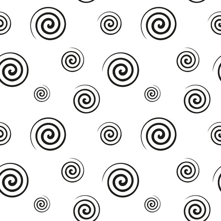lightweight ornaments: Abstract monochrome pattern of black spiral shapes on a white background. Fabric, textile, material seamless texture