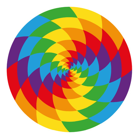 Abstract spiral pattern chess. Bright rainbow contrast multicolor isolated object. Hypnosis, psychedelic
