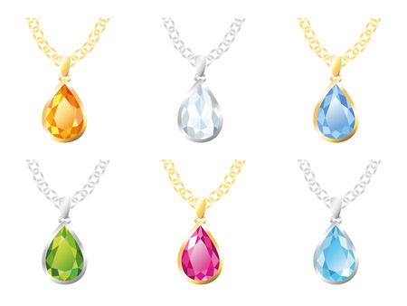 beryl: Set of six pendants in gold and silver frame on a chain - diamond, amber, topaz, beryl, rose quartz, zircon. Jewelry, isolated objects on white background Illustration