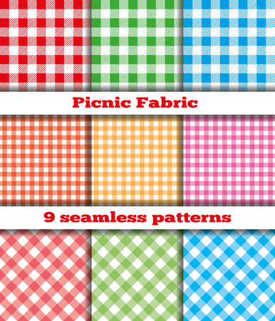 picnic cloth: Set of nine samples checkered cloth for a picnic. Seamless texture. Tablecloth, fabric, material, textile