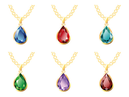 spinel: Set of six pendants in gold on a chain - sapphire, ruby, emerald, amethyst, aquamarine, garnet (spinel). Jewelry, isolated objects on white background Illustration
