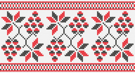 Floral Ukrainian national ornament vines, hops. Embroidery, knitting, knitwear. Seamless texture Vector