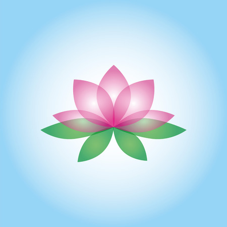 Lotus flower on the white-blue background. Isolated object Vector