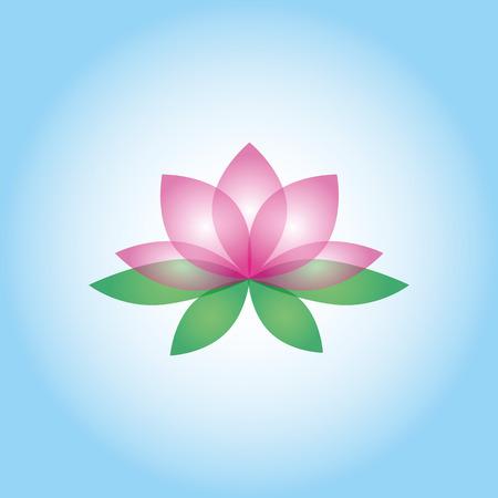 whiteblue: Lotus flower on the white-blue background. Isolated object Illustration