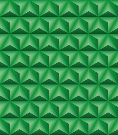 tripartite: Abstract pattern of green trihedral pyramids. Seamless texture