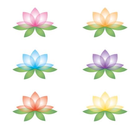 Set of six lotus flowers.  Vector