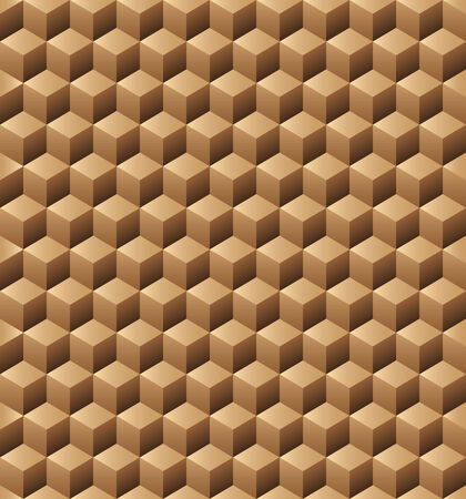 wood carving 3d: Abstract pattern from wooden cubes. Seamless texture