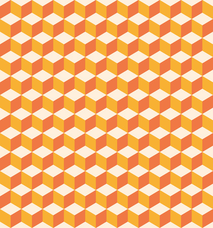 Abstract pattern of bright orange cubes. Seamless texture