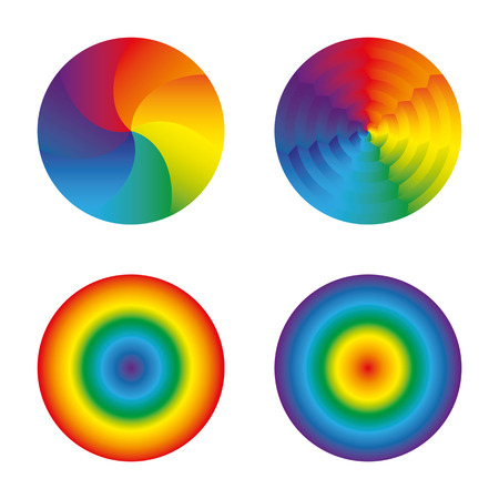 Set of four circles colors of the rainbow. Hypnosis, psychedelic, isolated objects on white background