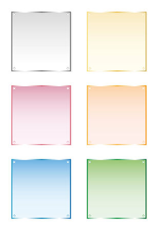 six objects: Set of six frames silver, gold, glass. Vector, isolated objects on white background