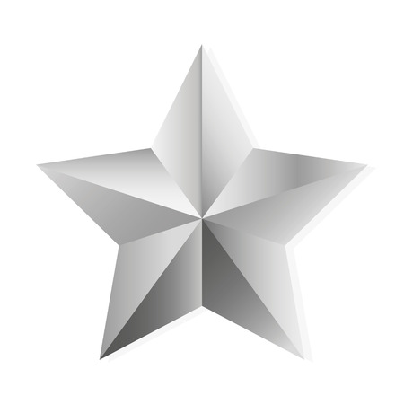 shiny argent: Silver star. Vector, isolated object on white background