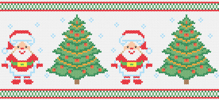 hosiery: Christmas winter christmas ornament. Vector, Santa Claus, Christmas tree. Embroidery, knitting, hosiery. Seamless texture