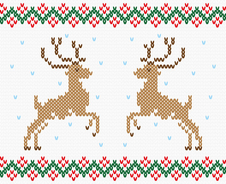 hosiery: Christmas ornament winter deer. Embroidery, knitting, hosiery. Vector, seamless texture Illustration