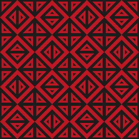 contrasty: Abstract geometric black and red pattern of triangles. Vector, seamless texture