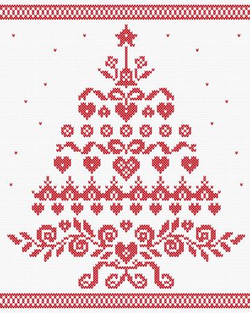 seamless texture: Weihnachten ukrainischen Ornament rote Baum. Vector nahtlose Textur