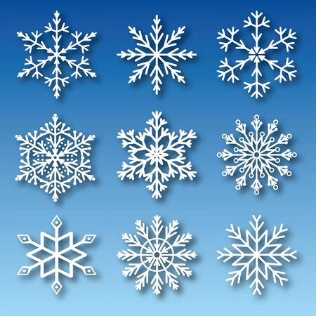 izole nesneleri: Set of nine snowflakes. Vector, isolated objects