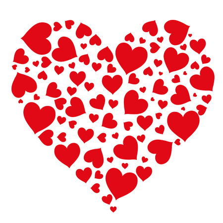 Modelo festivo brillante de corazones sobre un fondo blanco. Tarjeta romántica para el día de San Valentín, que saluda a un ser querido, a la boda.