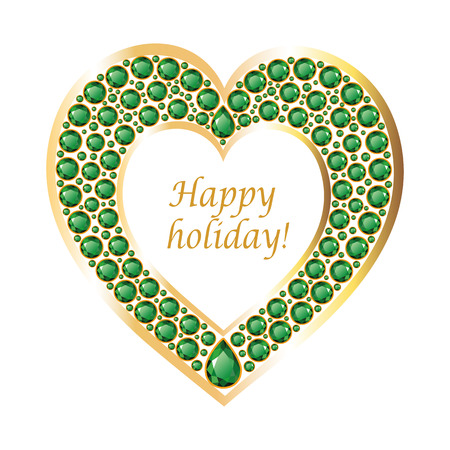 compliments: Heart of emeralds in a gold frame. Romantic holiday card. Vector, isolated object