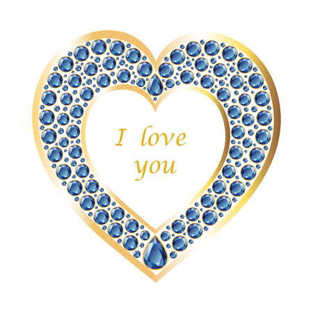 Heart of sapphires in a gold frame. Romantic holiday card. Vector, isolated object