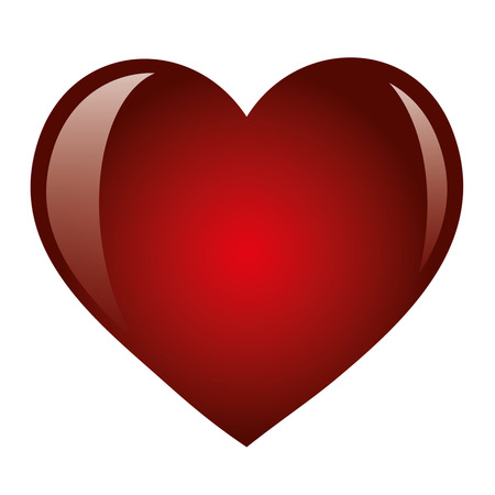 Valentine red heart on a white background. Romantic card for Valentines Day. Isolated object, vector