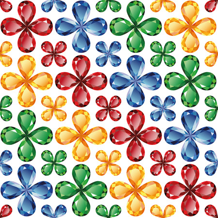 Bright floral pattern of precious stones - rubies, emeralds, sapphires and topaz on a white background. Seamless texture, vector