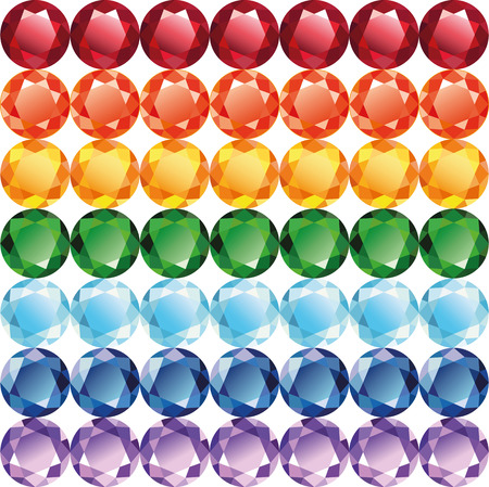 Rainbow of gems - diamonds, rubies, emeralds, sapphires and other. Seamless texture on a white background, vector