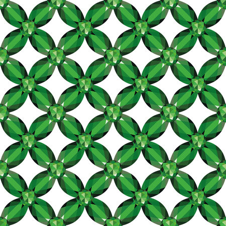 Flower braided Mesh with emeralds on a white background. Seamless texture, vector Vector