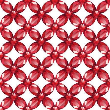 seamless texture: Blume glatt Netz mit Rubinen auf wei�em Hintergrund. Nahtlose Textur, Vektor Illustration