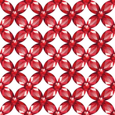 Flower braided Mesh with rubies on a white background. Seamless texture, vector Vector