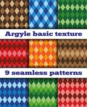 multicolored: Set of nine basic patterns Argyle rhombuses. Multicolored rhombuses, seamless texture, vector