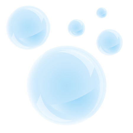 moisture: Soap bubbles on a white background. Vector, isolated objects Illustration