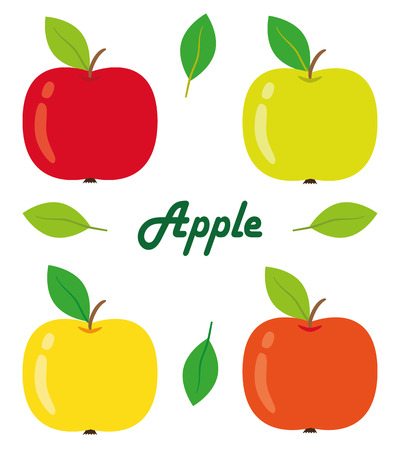 izole nesneleri: Set of four apples on a white background. Isolated objects, vector illustration