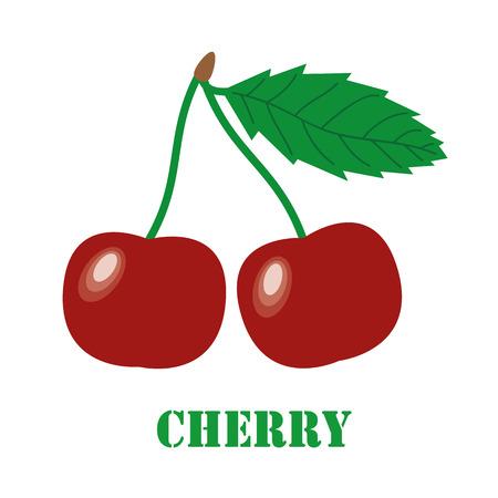 izole nesneleri: Cherries on a white background. Isolated objects, vector illustration