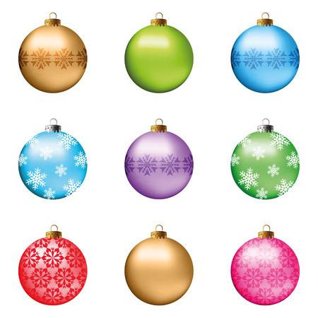 Set di decorazioni natalizie festive per l'albero di Natale. Oggetti isolati, vettore, illustrazione