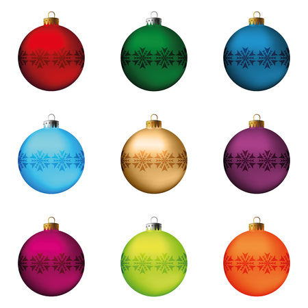 decoration objects: Set of festive Christmas decorations for the Christmas tree. Isolated objects, vector, illustration