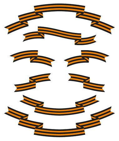 izole nesneleri: Set of St. George striped black and orange ribbons. Isolated objects on a white background, vector illustration Çizim
