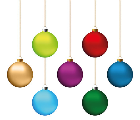 decors: Set of festive Christmas decorations for the Christmas tree. Isolated objects, vector, illustration
